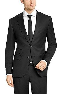 Travel Line regular fit jacket 'Jet1' in new wool, Black