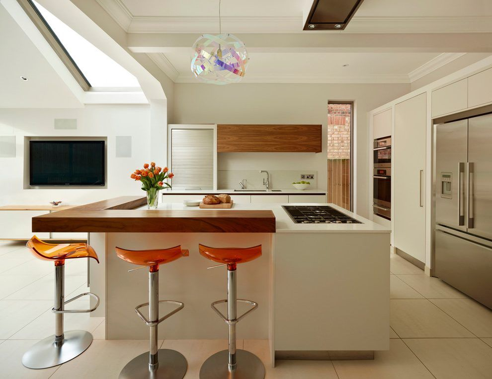 Bespoke Breakfast Bar Kitchen Contemporary With Wood Countertop