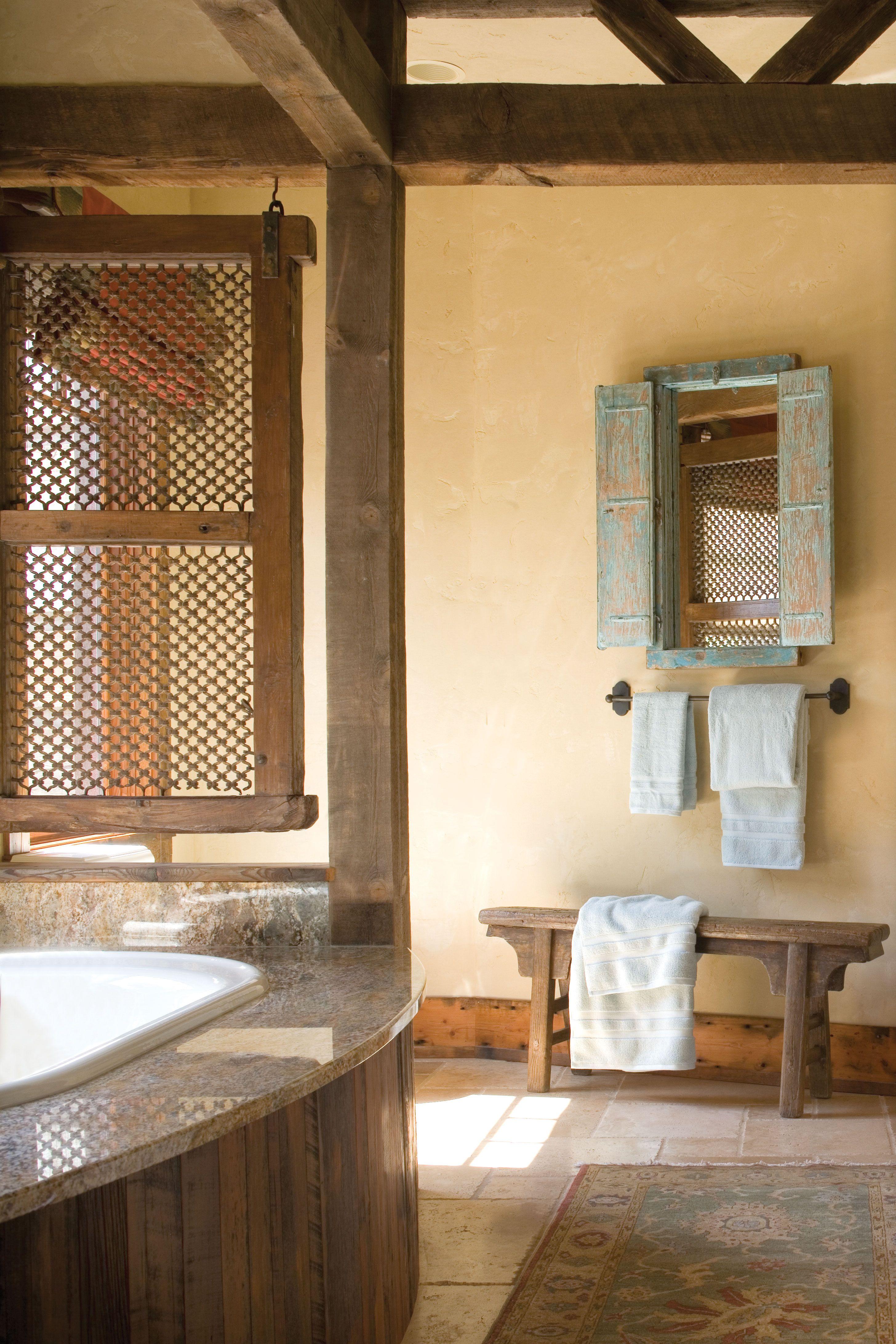 Southwestern Western Style Less Rustic More Clean Rustic Bathroom Decor Bathroom Decor Small Country Bathrooms