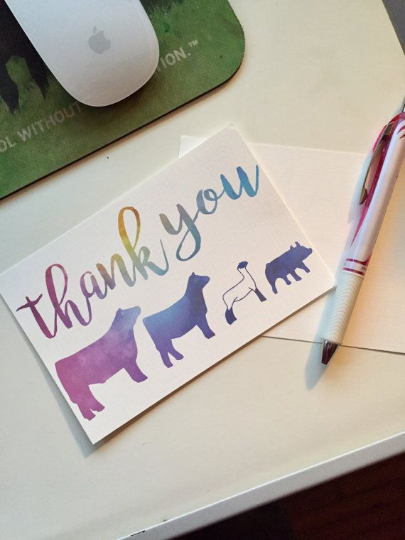 Livestock Thank You Cards 4x6 Flat Qty 5 By Carouseldesign Showmanship Cards Thank You Cards