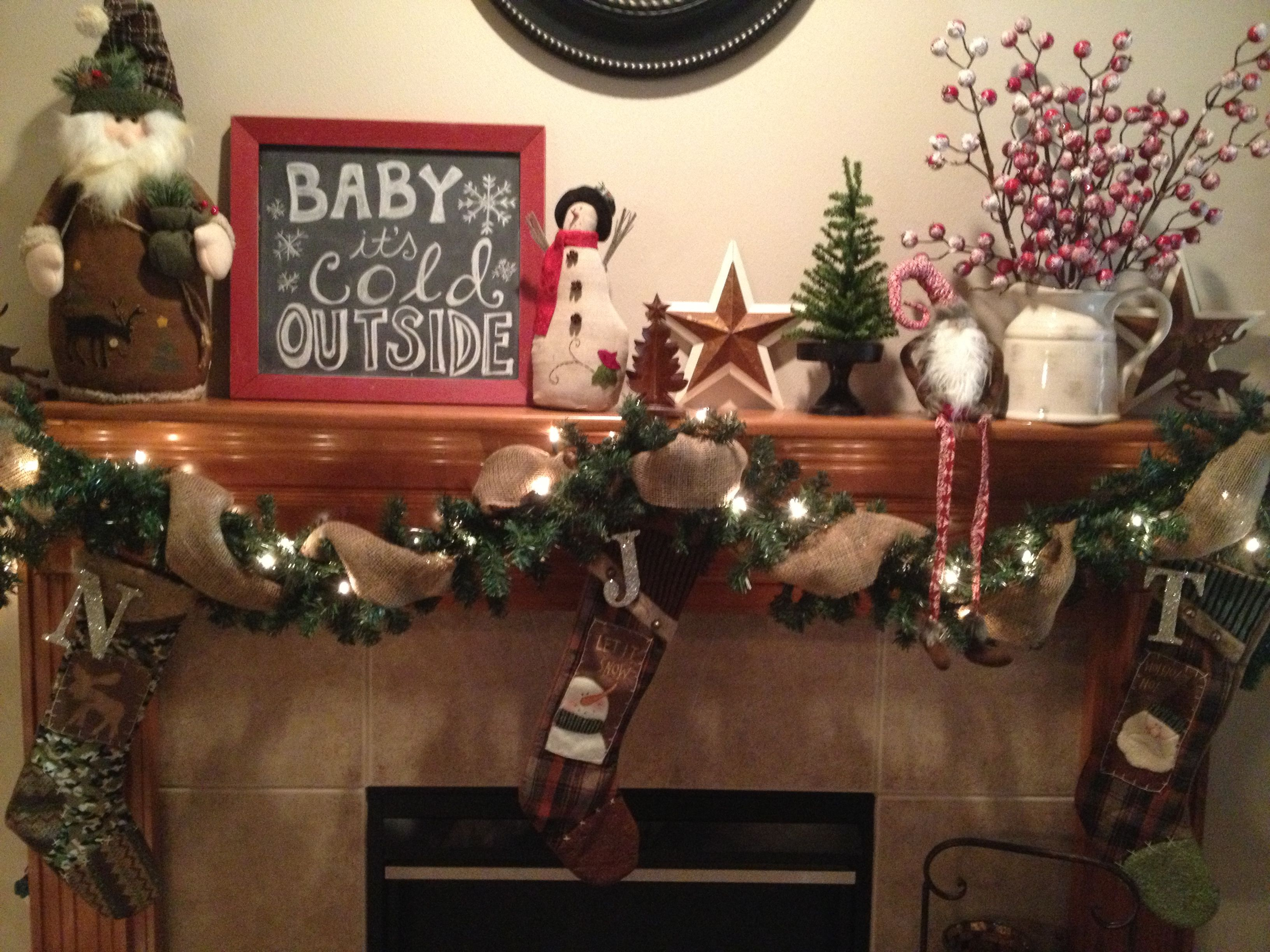 Rustic Christmas Mantel Decor Using Old Chalkboard To Display