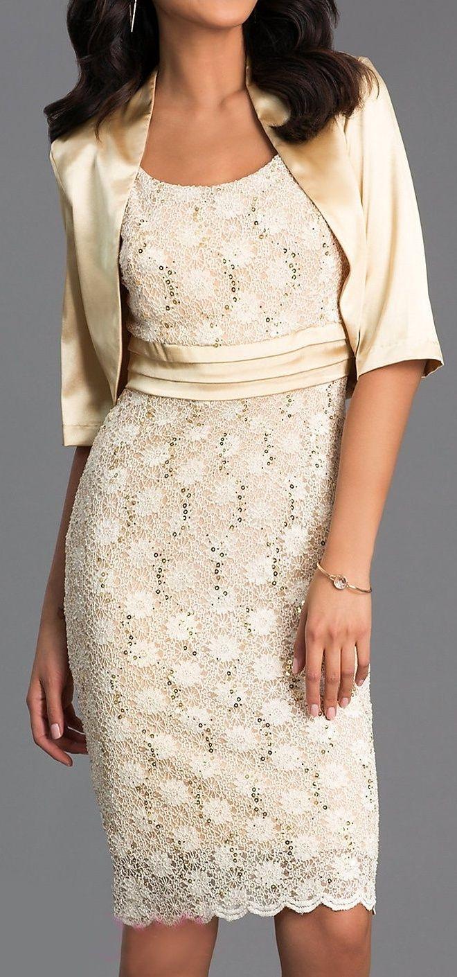 Knee Length Gold Lace Dress Semi Formal Bolero Jacket 3 Colors Available Dresses Gold Lace Dresses Lace Dress [ 1410 x 660 Pixel ]