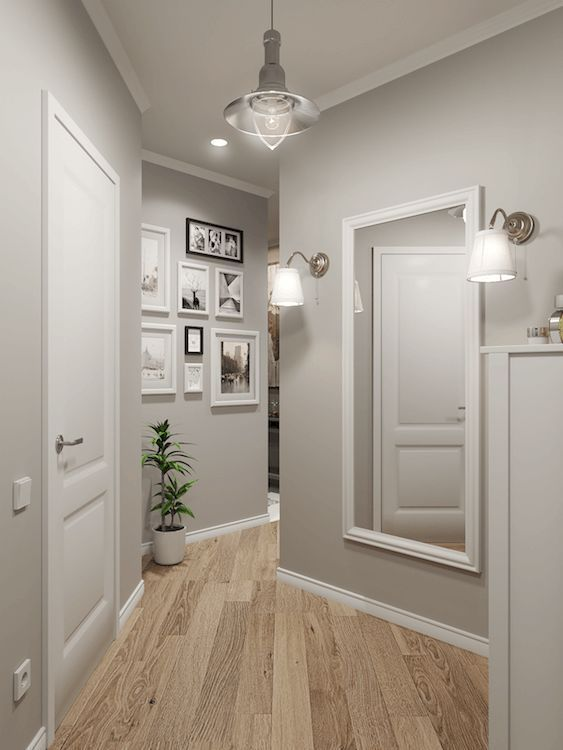 A light grey and white hallway. Looks bright and friendly ...