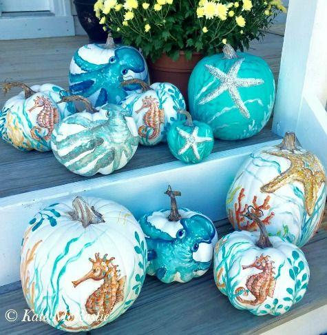 Painted Pumpkins With A Coastal Beach Nautical Theme Pumpkin