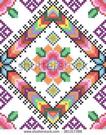 good like handmade cross-stitch ethnic Ukraine pattern. old embroidery