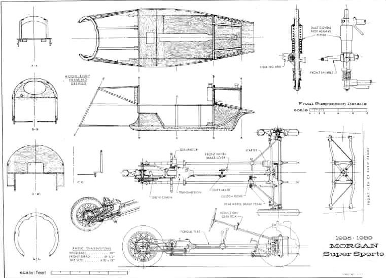3 wheel morgan blueprints - Google Search | Three wheeled car ...