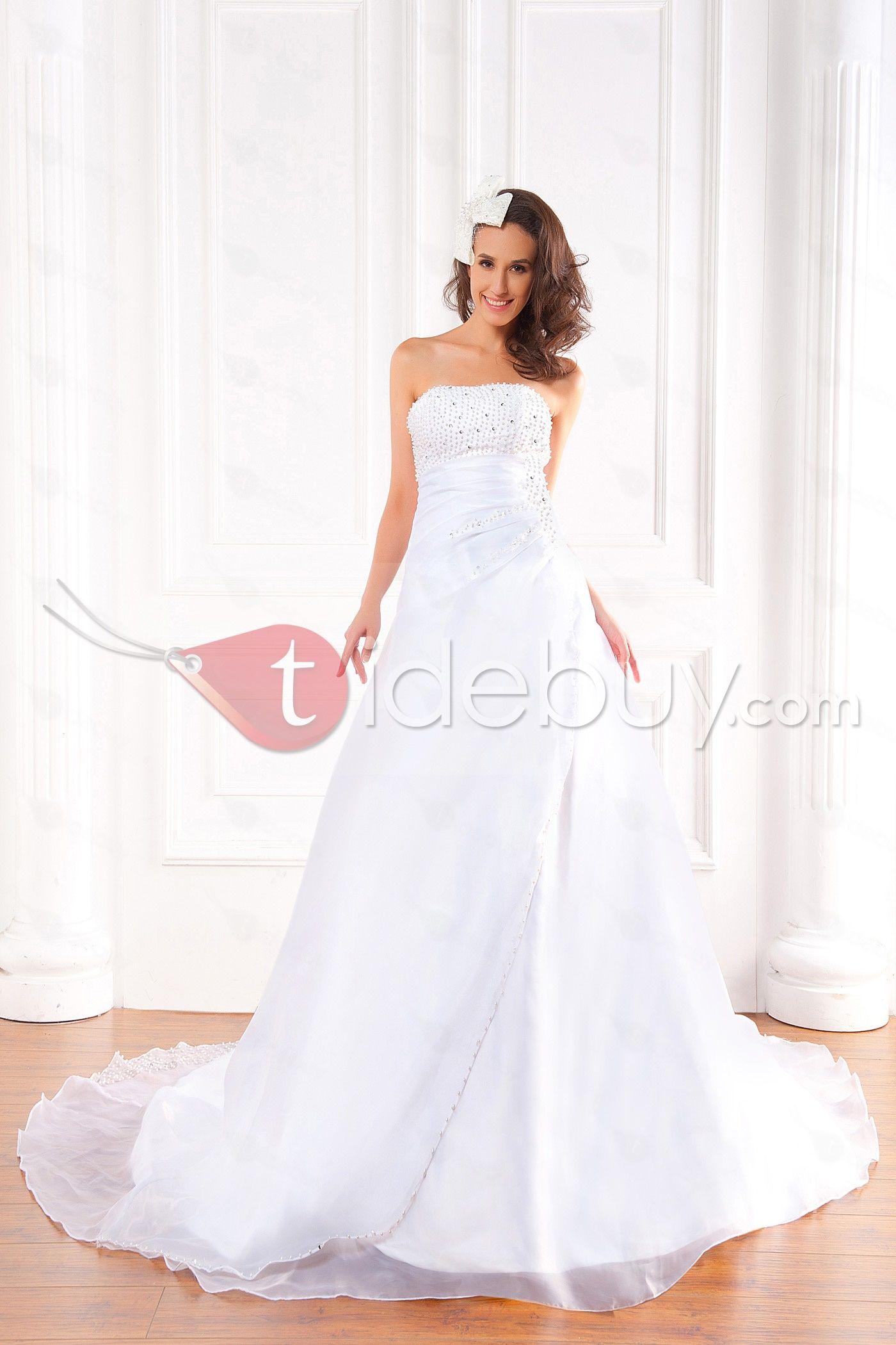 Aラインストラップレス床まで届く長さチャペルビーズウェディングドレス