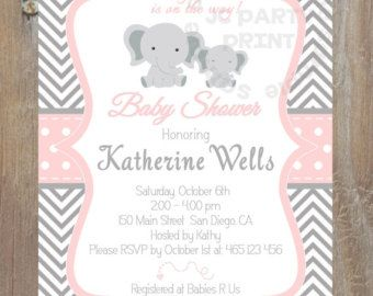 ON SALE Elephant Baby Blue Shower Invitation by LuxePartySupply
