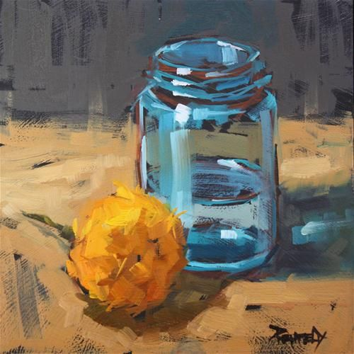 "Original Fine Art For Sale: ""Turquoise Jar And Marigold"""
