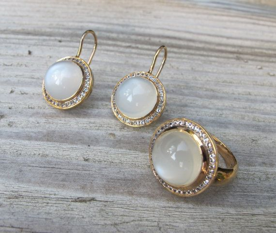 halo moonstone engagement stone wedding earrings moon bridal earring birthstone pin june statement white