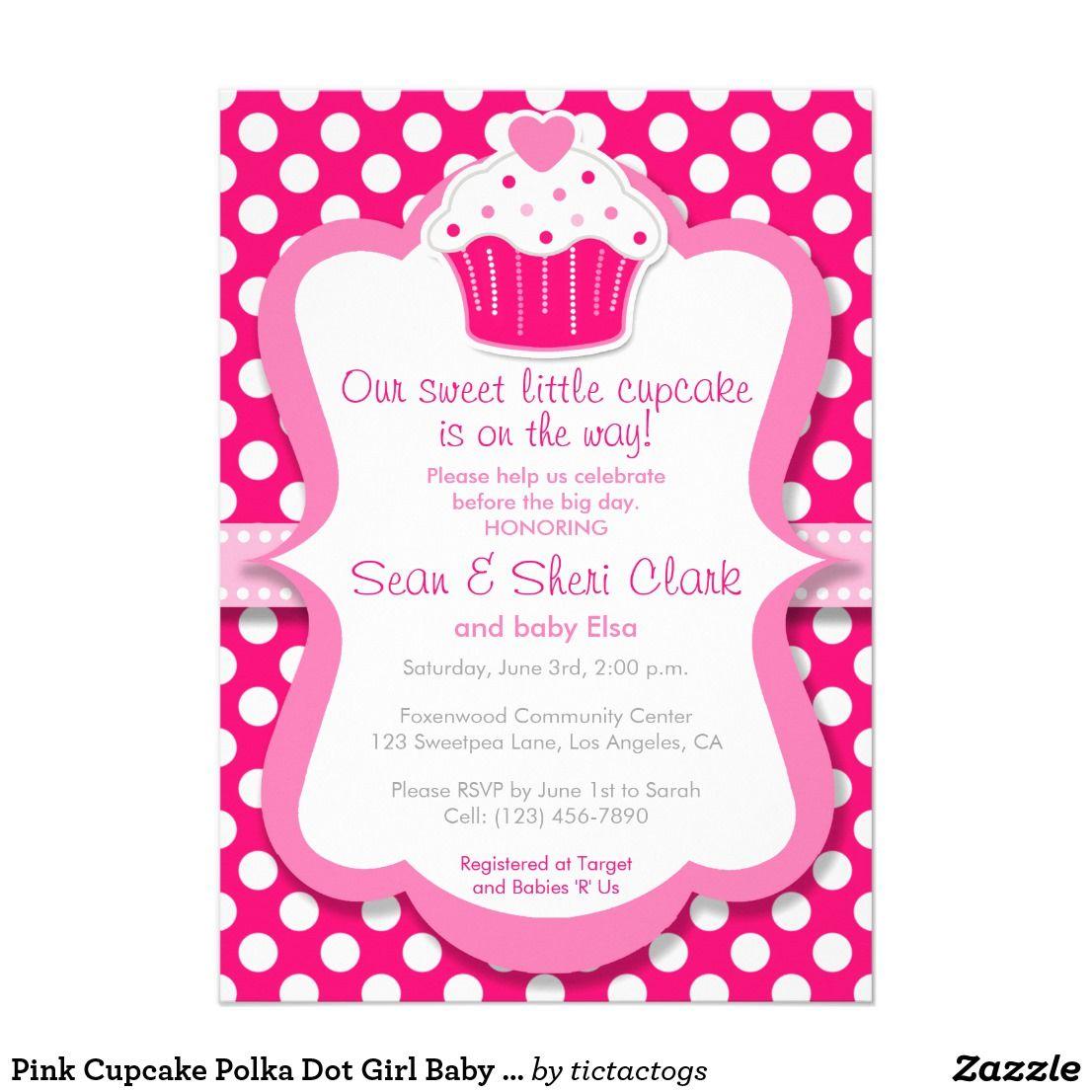 Pink Cupcake Polka Dot Girl Baby Shower Invitation Express your love ...