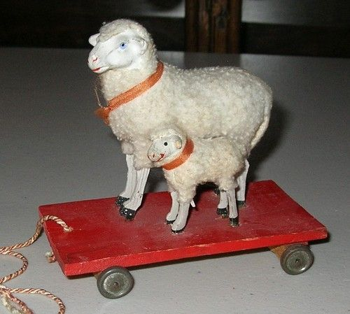 Vintage Antique Christmas Woolly Sheep on Pull Toy German 1900s