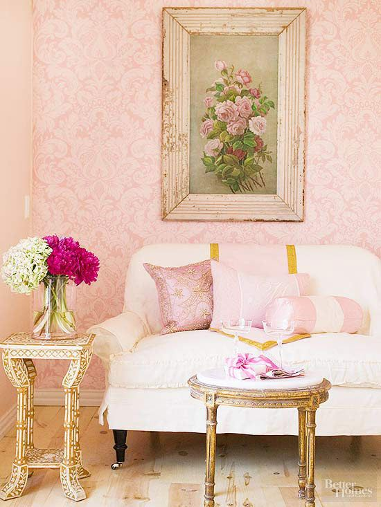 Decorating in Pink | Pink damask, Living room paint and Damask wallpaper