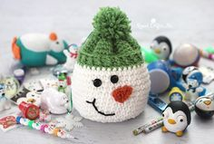 Crochet Snowman Sack with Stocking Stuffers from Oriental Trading