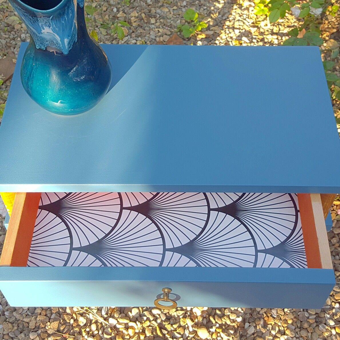 Details Chevets Vintage Bleus Paon Diy Diy Meuble Meuble