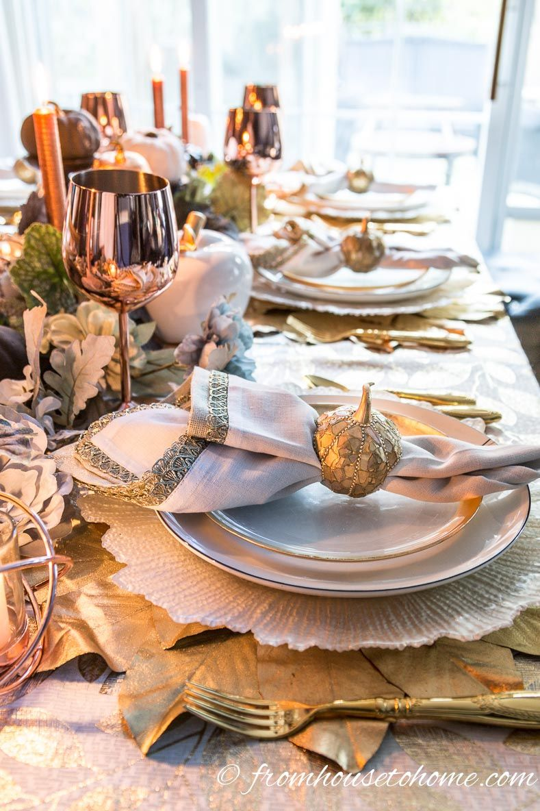 Want some inspiration for an #autumn table setting? This gold and copper fall table setting will definitely give you some ideas. & Beautiful Gold and Copper Fall Table Setting | Fall table Fall ...