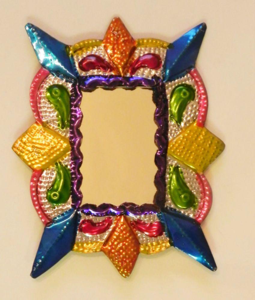 Unique Mexican Tin Mirror Multicolor Wall Hanging Ornament Hand ...
