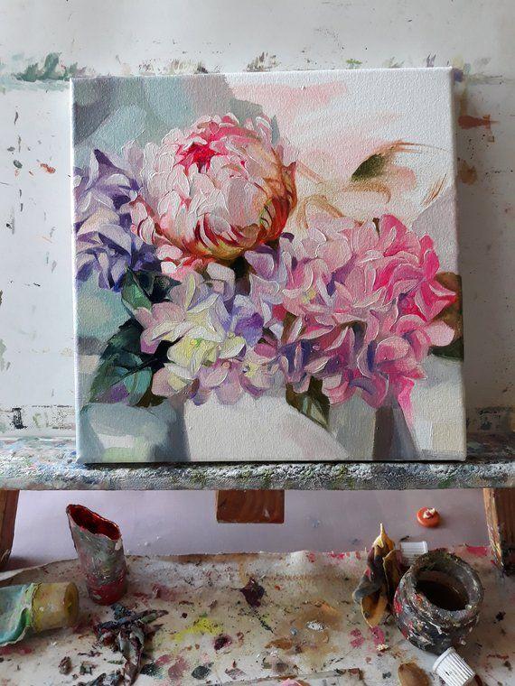 Peony Hydrangea Oil Painting Canvas Original Art Pink Flowers