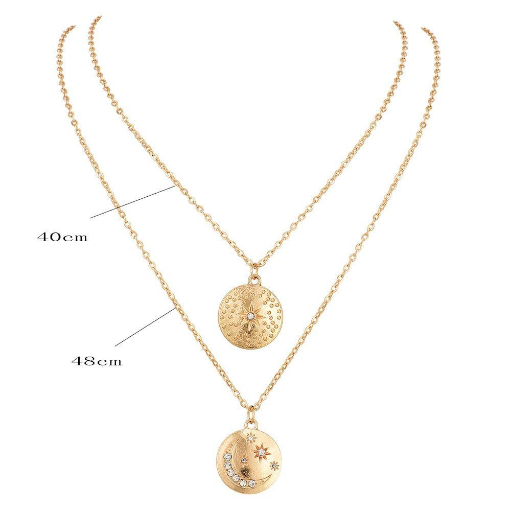 fd62acbea5f Gold color Choker Necklace for women Long moon Tassel Pendant Chain  Necklaces   Pendants Laces velvet