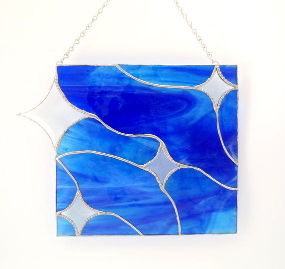 Abstract Stained Glass Panel Blue with Stars by Nostalgianmore, $120.00