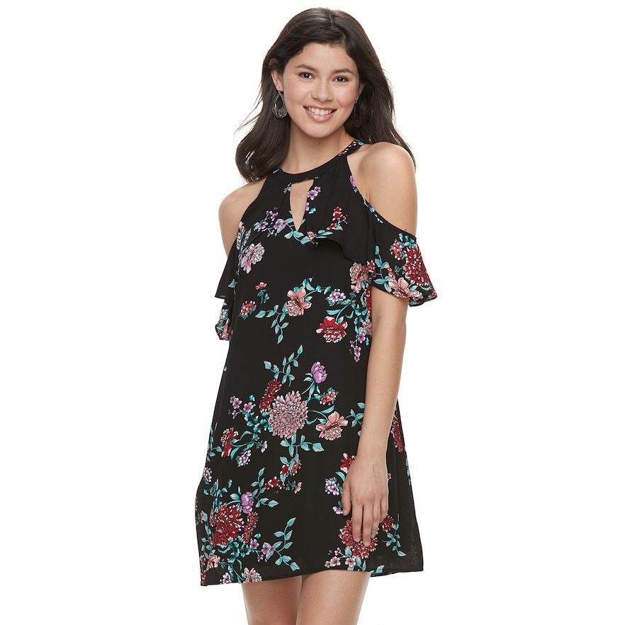 f66bc76d66135 Juniors' Candie's® Cold-Shoulder High-Neck Swing Dress | Products ...