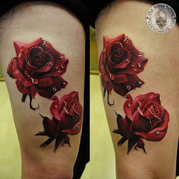 50 Examples Of Colorful Tattoos Cuded Color Tattoo Realistic Rose Tattoo Rose Tattoo Thigh