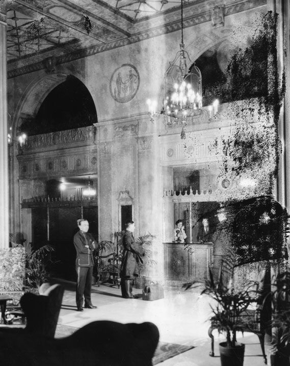 an early picture of the the mayfair hotel lobby lapl. Black Bedroom Furniture Sets. Home Design Ideas