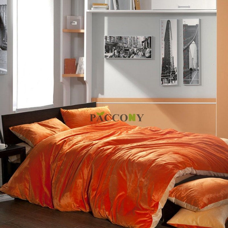 King Size Orange Comforter Cheap Solid Orange Amp Beige