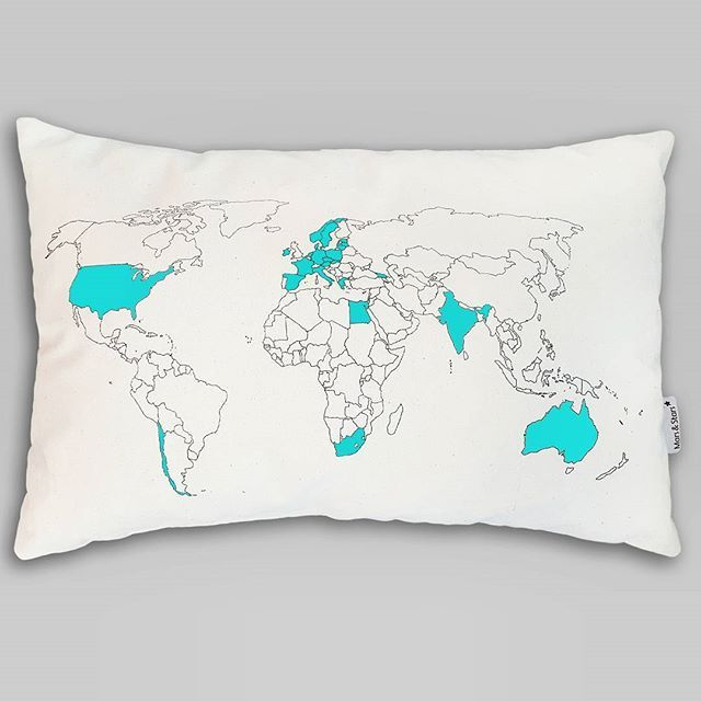 blue choose your favourite colour of the fabric marker and put track all of your travels on this unique world map pillow choose your colour of a fabric marker and paint countries to keep a record of your travel trips gumiabroncs Images