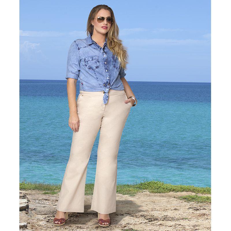 9cb6e3751 Calça Plus Size Flare Roberta Linho | Estilo em 2019 | Look calça ...
