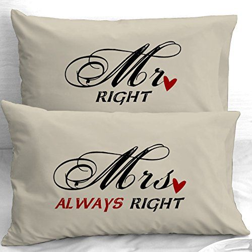 ** Charming Mr Proper Mrs All the time Proper Coronary heart Couple Anniversary Wedding ceremony Pillowcases Set of two (Normal Cream)