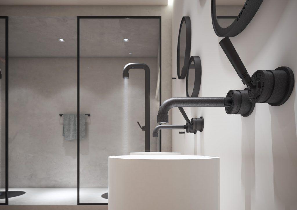 Zwarte badkamerkranen jee o soho in prachtige badkamer met