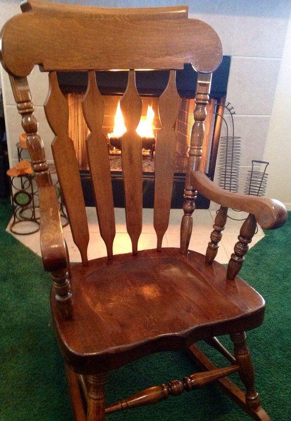 Delightful Vintage Solid Wood Rocker Rocking Chair.... Made In Yugoslavia On Etsy,