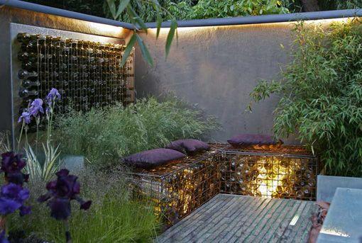 too cool Garden ideas Pinterest Gaviones, Iluminación exterior