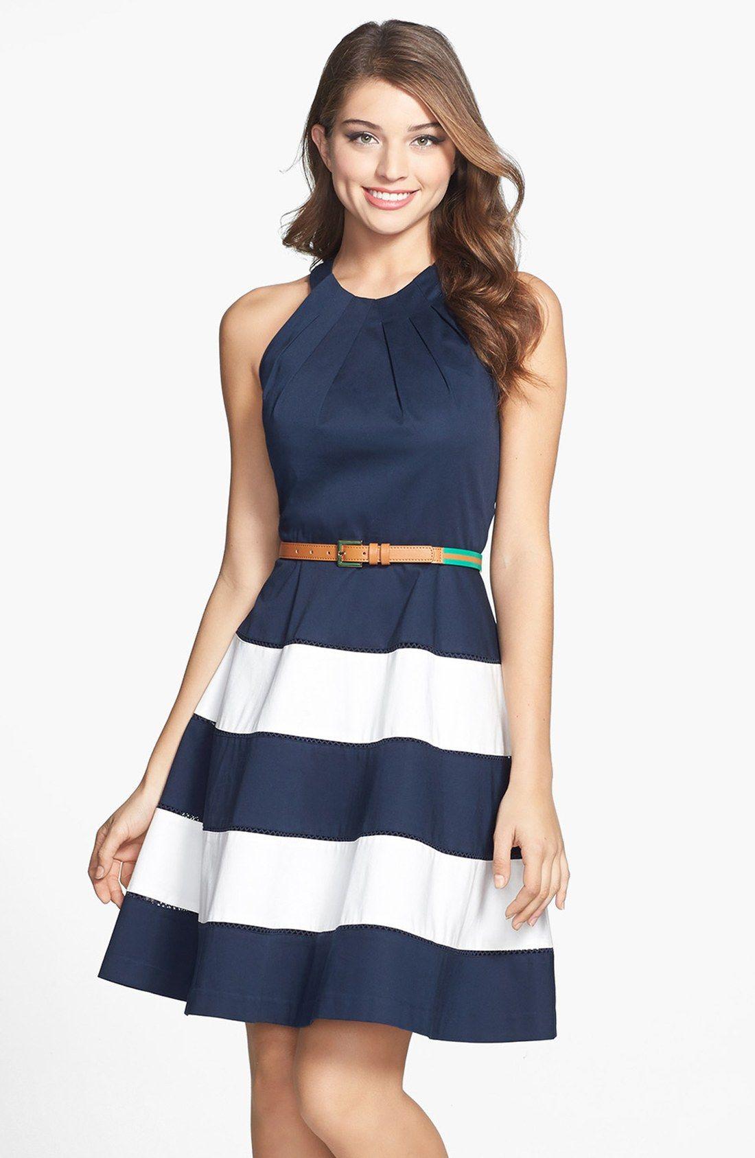 d33c6ac817192 Eliza J Stripe Skirt Cotton Sateen Fit & Flare Dress (Regular & Petite)