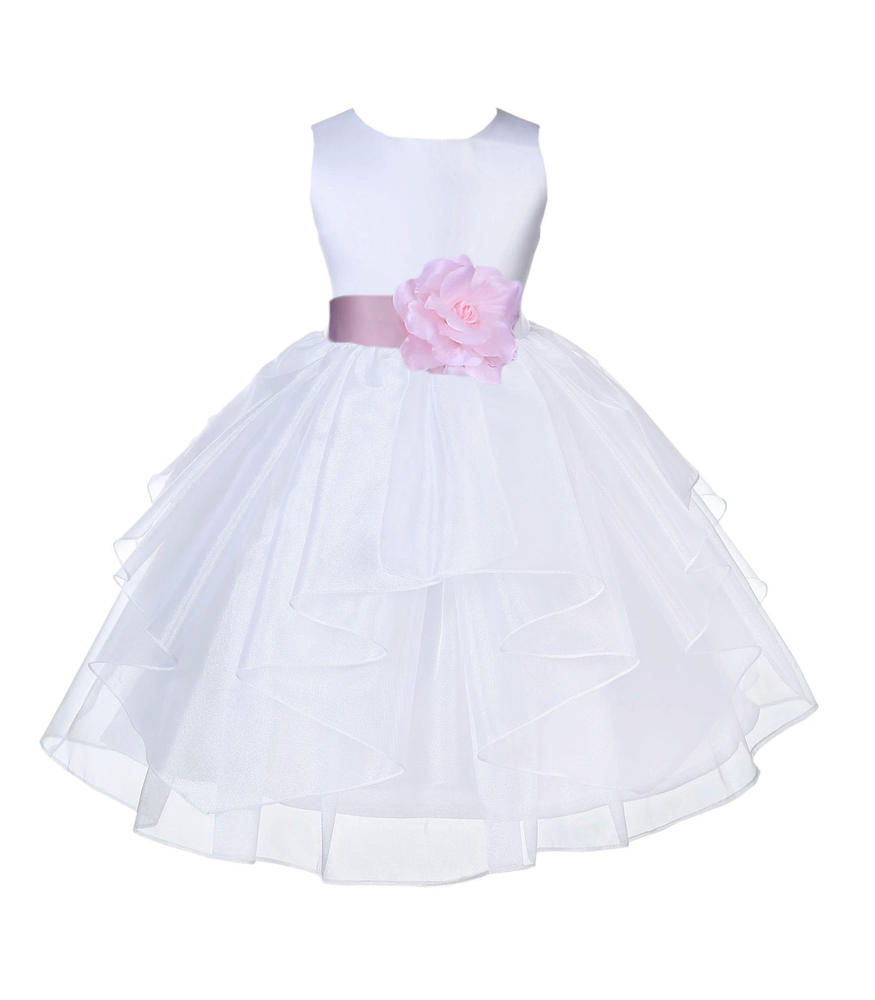 New Baby Flower Girls White Satin Organza Dress Pageant Easter Party Wedding