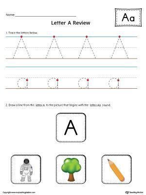 Letter A Review Worksheet Color  Worksheets Kindergarten