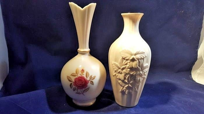 Rare Vintage Lenox Orchid Collection Cream Porcelain Vase Red Rose