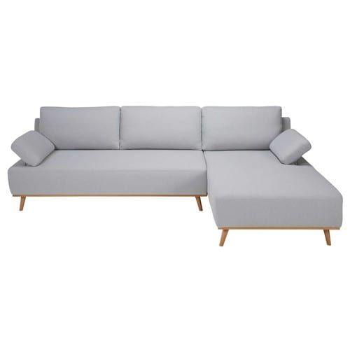 Sofá esquinero derecho de 5 plazas de algod³n gris claro