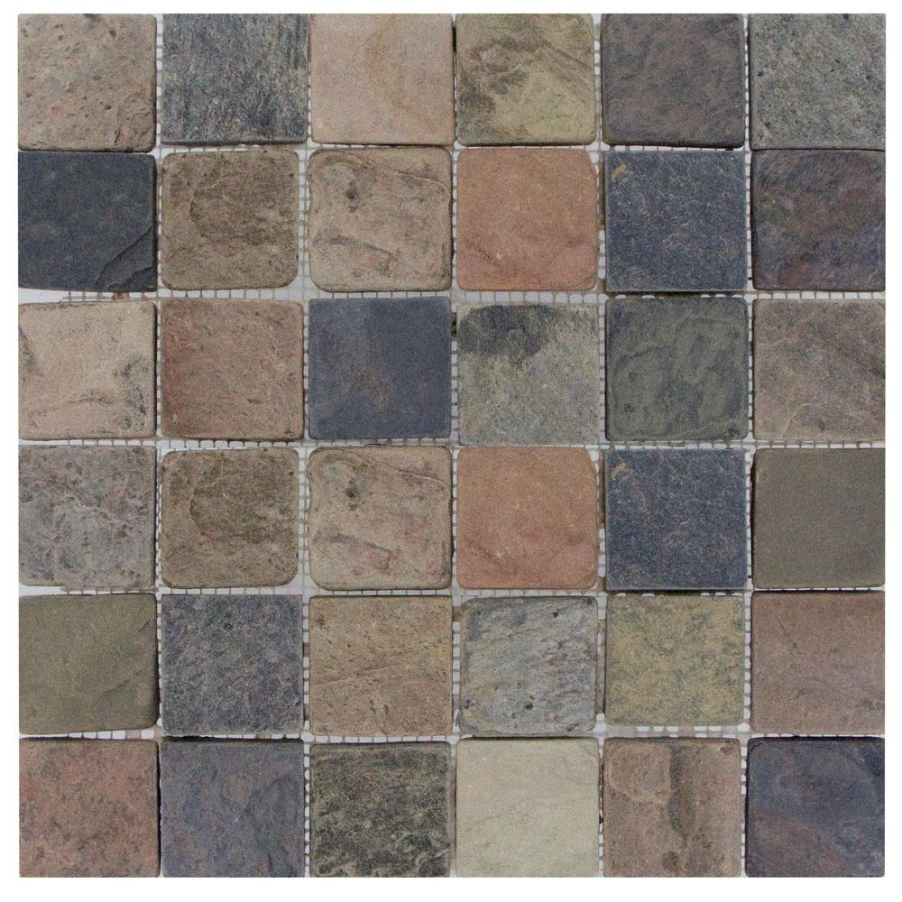Ms International Mixed Color 12 In X 12 In X 10 Mm Tumbled Slate Mesh Mounted Mosaic Tile Mosaic Flooring Mosaic Wall Tiles Mosaic Tiles