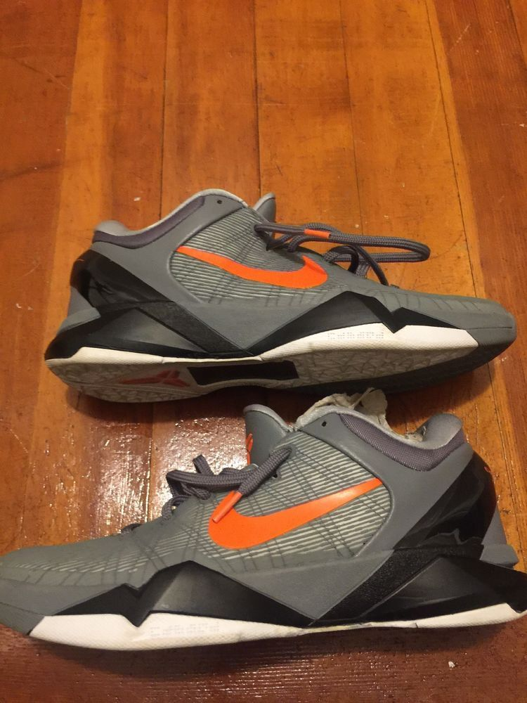 competitive price d5dde 34361 Nike Zoom KOBE VII 7 SYSTEM WOLF GREY-ORANGE BLACK WHITE Mens Size 11