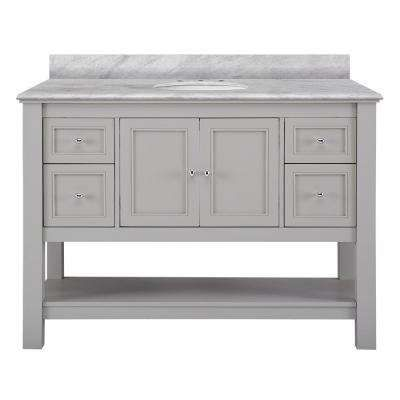 Home Decorators Collection Gazette 61 In D Vanity Grey With Marble Top Carrara White Basin