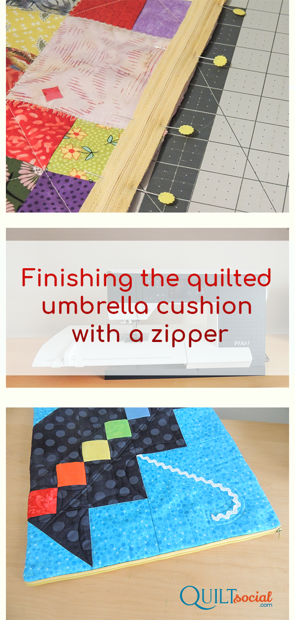 Finishing The Quilted Umbrella Cushion With A Zipper Quilted Quilting Tips Free Quilting