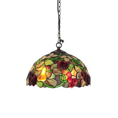 Tiffany style fruit motif pendant light with stained glass shade dimmable led ceiling fan foldable blades with light and remote retractable ceiling fan wooden farmhouse chandelier industrial pendant lighting fixtures mozeypictures Image collections