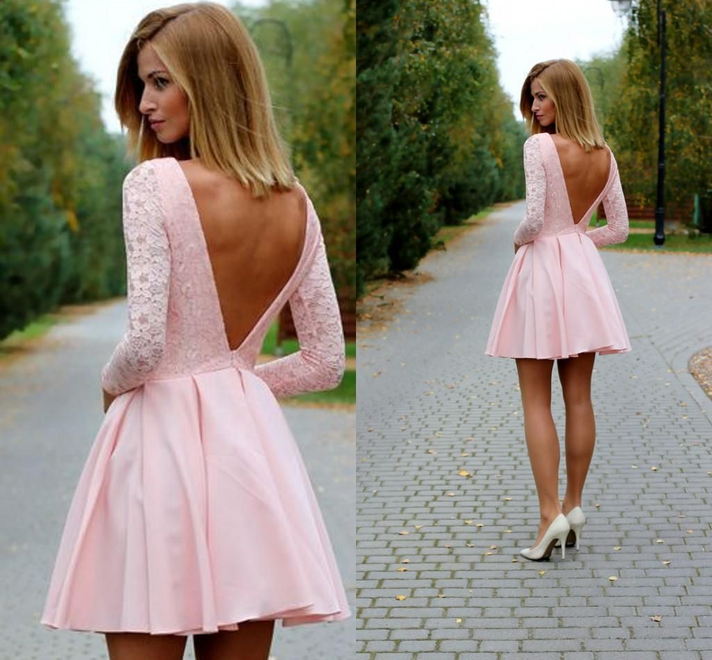 Sexy low back long sleeves short pink prom dresses bateau lace party