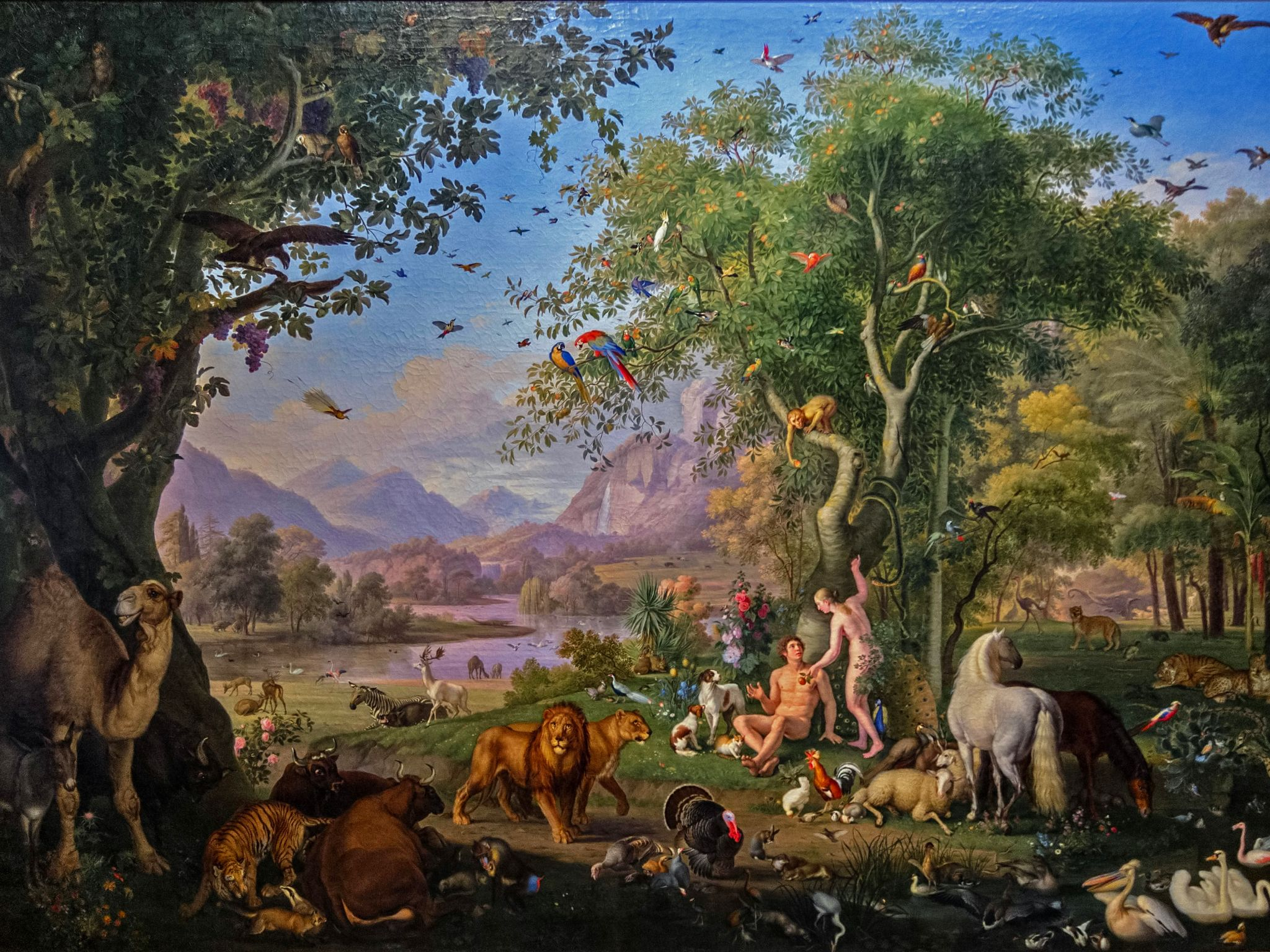 Adam and eve earthly paradise by austrian painter wenzel - Tableau adam et eve dans le jardin d eden ...