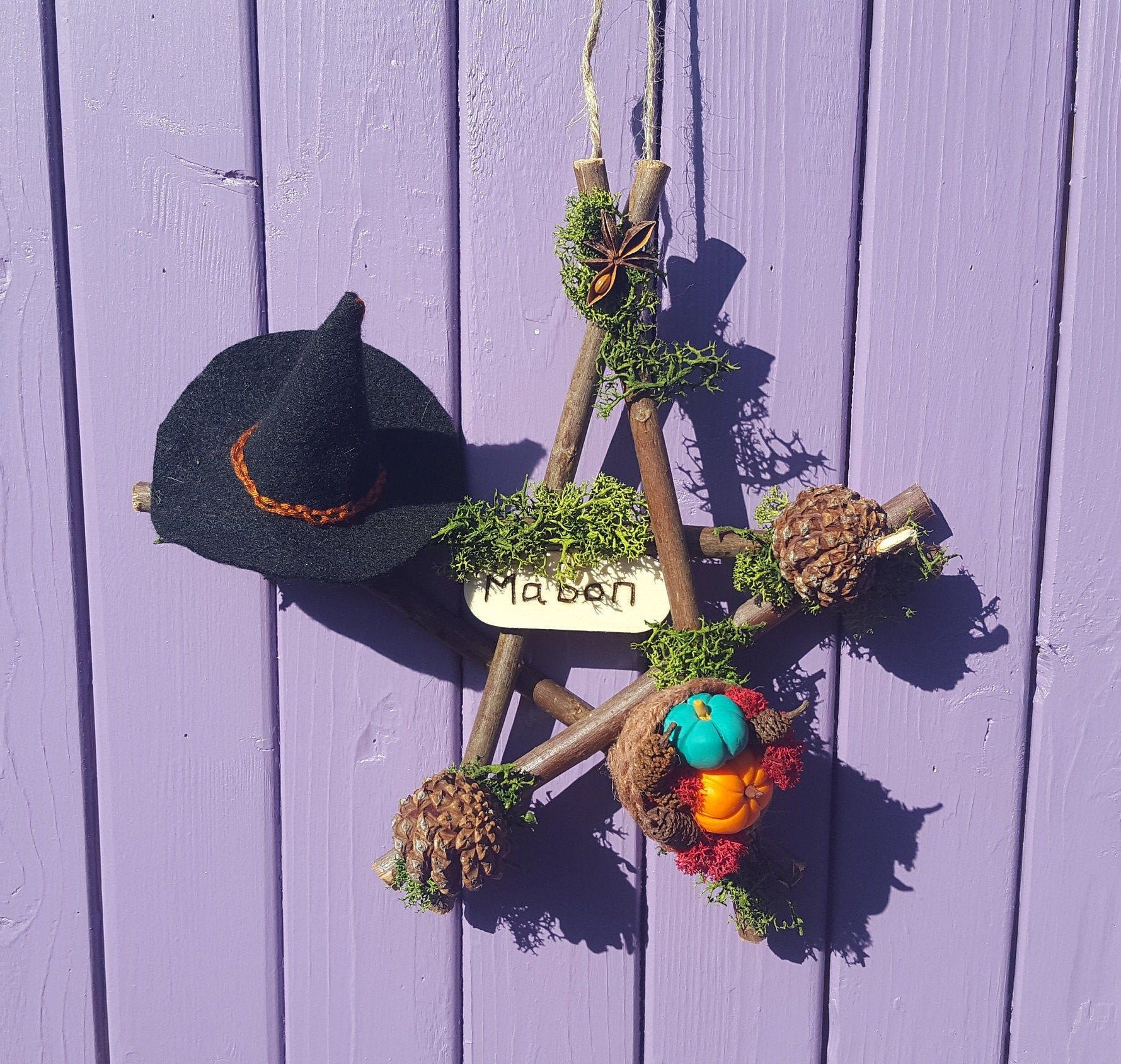 Photo of Mabon Pentacle, Autumn Pentagram, Pine Cone Decoration, Felt Witch Hat, Polymer Clay Pumpkin, Star Anise Decor, Pagan Door  Hanger