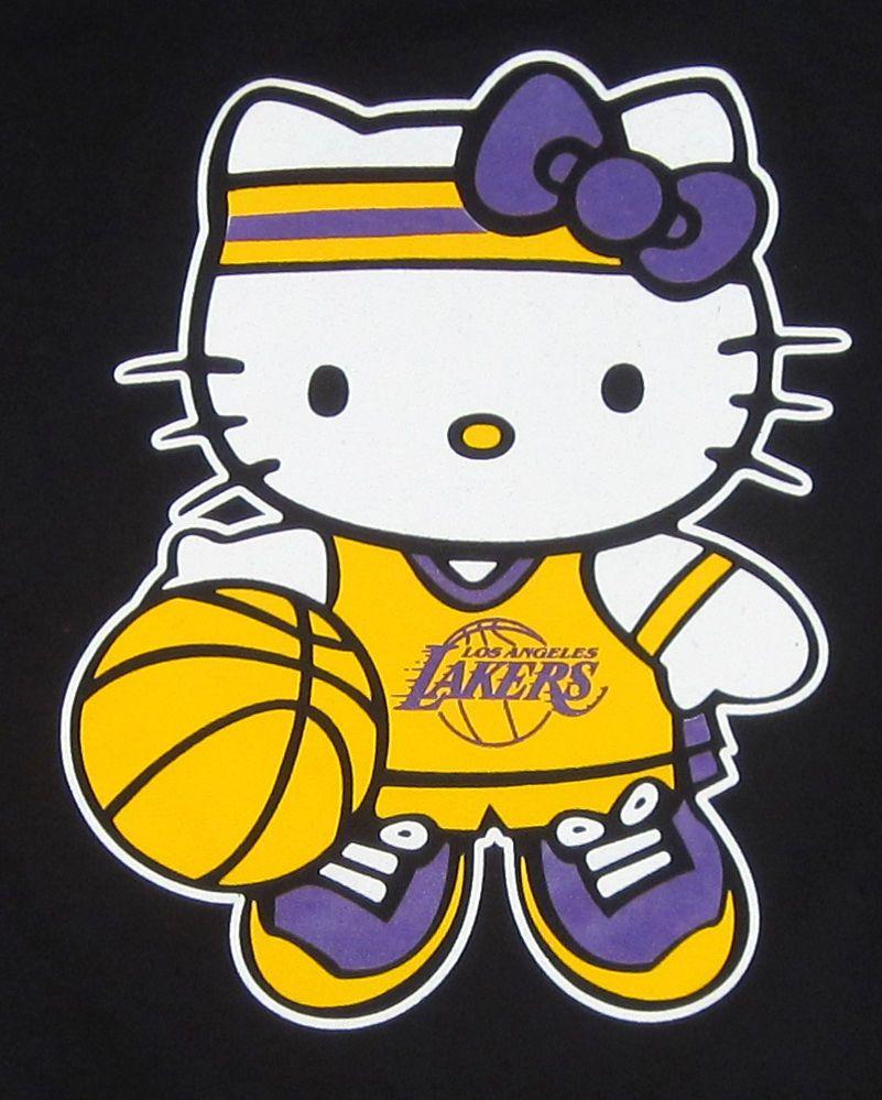 HELLO KITTY LA LAKERS T-shirt Los Angeles KOBE Anime Cat JUNIORS ...