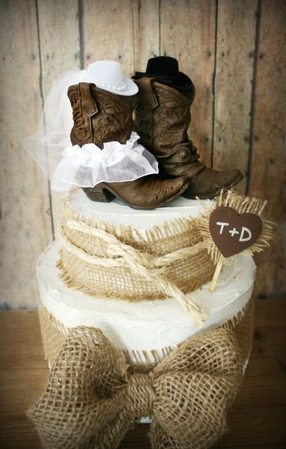 Cowboy boots wedding cake topper-Texas-country wedding-Rustic ...