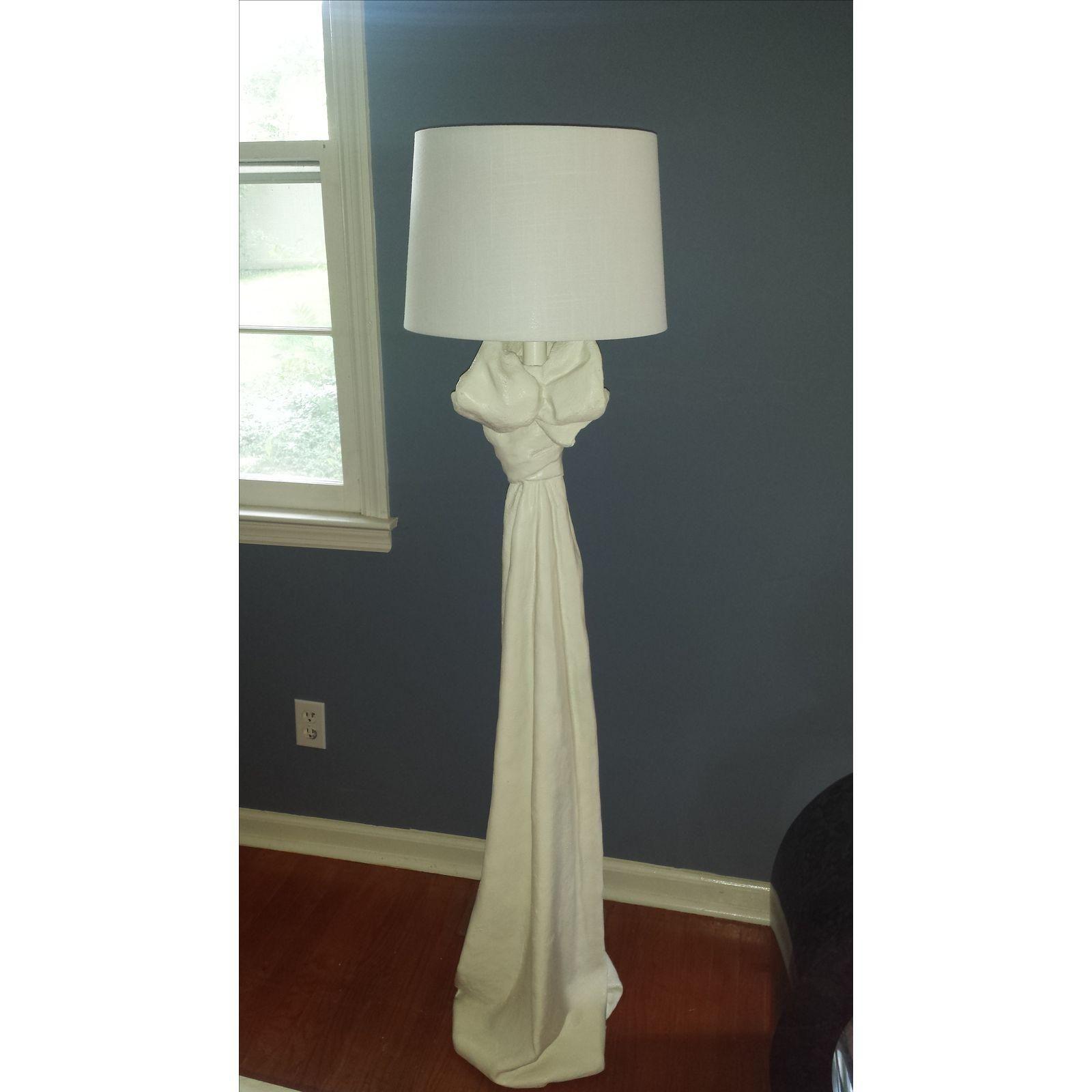 John Dickinson Style Draped Plaster Floor Lamp Floor Lamp Curvy Sofa Vintage Lamps